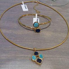 Gargantilla y pulsera  #gargantilla #pulsera #anartxy #azul #blue #doscolores #colors #dorado #gold#choker #bracelet#jewelry #style #regalsleonor