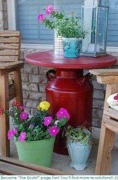 La vecchia bombola del gas o il bidone dell'olio come base per un tavolo!