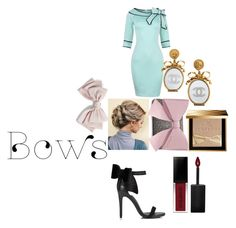 """bow style"" by lemonchello ❤ liked on Polyvore featuring Miss Selfridge, Cara, Chanel, Burberry, Smashbox and Betsey Johnson"