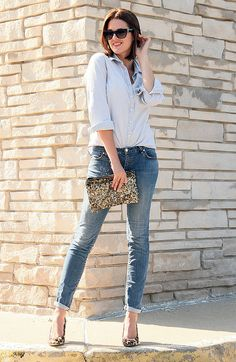 chambray, jeans, and leopard print shoes.  Simple by What I Wore