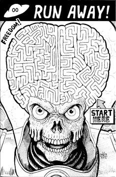 Mars Attack Maze by Van E. Davis    via SKETCH CHALLENGE #7.3