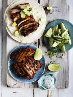 Neil Perry's adobo-marinated chicken tacos. Marinate the meat, fire up the grill, and make sure the side serves are fresh, plentiful and spicy hot.