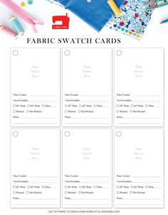 get organized for the new year: swatch cards (Oliver + S) Sewing Room Design, Photography Settings, Craft Storage, Storage Ideas, Couture Sewing, Sewing Notions, Fashion Sewing, Fabric Swatches, Getting Organized