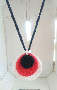 Πλεκτό τρίχρωμο μακρύ κολιέ, με αυξομειώμενο μακραμέ κούμπωμα και φούντες στο τελείωμα.  #handmade #crochetjewelry #handmadecrochet #handmadejewelry Handmade Necklaces, Crochet Necklace, Jewelry, Fashion, Moda, Jewlery, Jewerly, Fashion Styles, Schmuck