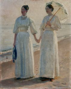 colourthysoul: Michael Ancher - Minne and Sophie Holst in light summer dresses on Skagen beach