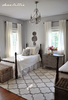 Cute for the guest room! -- Love the twin beds in a guest room - Dear Lillie Home Bedroom, Master Bedroom, Bedroom Decor, Guest Bedroom Colors, Kids Bedroom, Guest Room Paint, Cottage Bedrooms, Bedroom Office, Design Bedroom