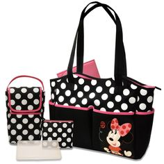 Disney Minnie Mouse Baby Diaper Bag Changing Handbag Set Infant Tote Purses New #Disney