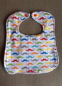 Baby Bib - Mustaches on White - Multicolor - Baby Boy on Etsy, $8.00