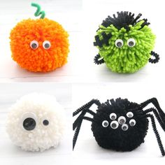 Halloween pom pom pals {easy kids' craft} - It's Always Autumn How cute! Halloween pom pom pals: kids can use yarn, pipe cleaners, and googly eyes to make fun Halloween decorations. Easy kids' craft for Halloween. Adornos Halloween, Manualidades Halloween, Easy Halloween Crafts, Easy Crafts For Kids, Diy Halloween Decorations, Halloween Kids, Holiday Crafts, Halloween 2020, Haloween Craft