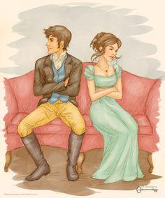 Pride and Prejudice: Darcy and Elizabeth by *mseregon on deviantART