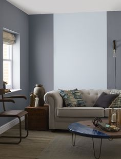 Bold on trend shades designed to complement Crown Paints Standard Emulsion. Shown here in Blue Gravel by Crown Paints.