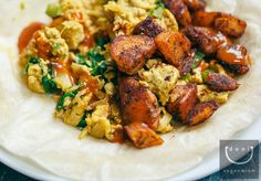 I am sure you will love it !!!! View Details - http://veganmiam.com/recipes/breakfast/tandoori-tofu-scramble-spiced-fries…