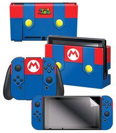 Nintendo Switch Joy-Con Super Mario: Mario's Outfit Skin and Screen Protector Set Color: MultiColored. Mario Wii, Nintendo Switch Super Mario, Nintendo Switch Games, Mario Bros, Mario Kart, Wii Party, Sonic Birthday, Avengers Birthday, Consoles