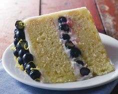 Fresh lemon zing and juicy blueberries give this picture-perfect cake wonderful spring flavor! Pro tip: You'll need fresh lemon juice and peel for this recipe. At the grocery store, keep in mind that one medium lemon yields about 3 tablespoons of juice and 2-3 teaspoons of grated lemon peel.