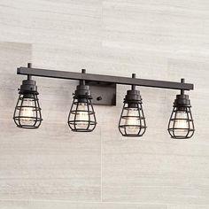 "Bendlin Industrial 31"" Wide Oil-Rubbed Bronze Bath Light - #8F850   Lamps Plus"