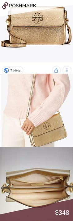 ee2836394c 🆕Tory Burch McGraw Gold Metallic Crossbody bag. Beautiful Tory Burch  metallic gold leather Crossbody