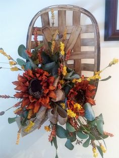 Fall Tobacco Basket Nantucket Baskets, Tobacco Basket, Meadow Flowers, Oak Leaves, Burlap Ribbon, Floral Wreath, Artisan, Pumpkin, Wreaths