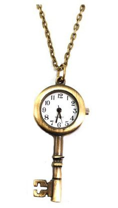 I'm addicted to clocks! Vintage Copper Lock Pocket Watch Necklace 'I'm Late, I'm late for a very important date! Pocket Watch Necklace, Key Necklace, Necklaces, Antique Keys, Key To My Heart, Necklace Online, Jewelery, Amethyst, Jewelry Accessories