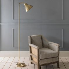 An elegant and simple brass floor lamp with sleek angles and a smooth finish. Unobtrusive in design, the Winslow Brass Floor Lamp is perfect for creating ambient lighting next to a chair or sofa. Diy Floor Lamp, Unique Floor Lamps, Arc Floor Lamps, Brass Floor Lamp, Shabby Chic, Room Lamp, Lamp Light, Flooring, Interior Design