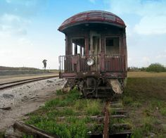 Old Train Caboose Corpus Christi Texas Port Area.