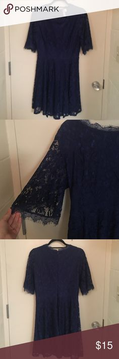 "Francesca's | navy lace dress Navy colored dress with lace overlay, scoop neckline, and 1/2 flared sleeve. 100% polyester. I'm 5'8"" and it hit my upper-mid thigh. Only worn once. Dresses Mini"