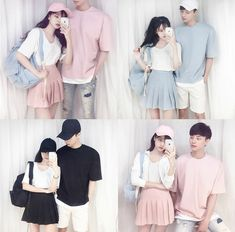 I really want to do this with my boyfriend when I actually get one xD Its so cute! Cute Outfits With Leggings, Matching Couple Outfits, Matching Couples, Edgy Outfits, Date Outfits, Korean Outfits, Fashion Outfits, Ulzzang Fashion, Asian Fashion