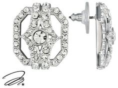 Marilyn Monroe (Tm) Jewelry Collection, Round Crystal Rhodium Plated Bronze Earrings