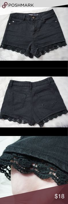 Sexy High-Waisted Black Denim Shorts with Lace 🖤 Bought from FASHION NOVA. Boom Boom Jeans brand. Lace detailing, no fray no tears! In perfect condition! These shorts will hug your curves perfectly 😍😏 Can be dressed up or kept casual. Fashion Nova Shorts Jean Shorts
