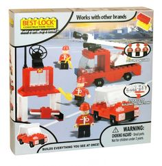 Best-lock construction toys playset fire service