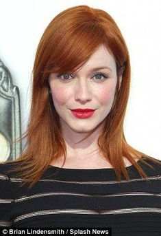 Her hair is normally big and bouncy but last night (Wednesday) Christina Hendricks opted for a sleek and sophisticated look. The Mad Men star, opted for poker straight locks at the The Book of Mormon Play Opening Night in Los Angeles. Mens Medium Length Hairstyles, Bob Hairstyles, Straight Hairstyles, Casual Hairstyles, Pixie Haircuts, Latest Hairstyles, Celebrity Hairstyles, Braided Hairstyles, Wedding Hairstyles