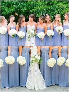 Identical strapless bridesmaid dresses, cornflower blue bridal party, all white bouquets // Dana Cubbage Weddings