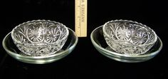 Clear Glass Shallow Bowl Saucer & Daisy Pattern Scallop Cut Glass Bowl Lot of 4 picclick.com