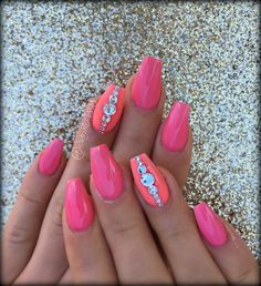 Neon pink and Coral nails/ nail art/ coffin nails