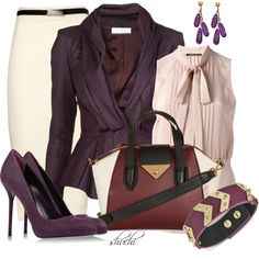 """Workwear in Aubergine"" by shuchiu on Polyvore"