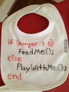 Baby's programming their parents. This actually is what programming looks like, just so you non-programmers know. Of course, you would have to define the functions FeedMe, and PlayWithMe somewhere else, as well as the variable hunger but, you know, BABY steps. (Laughs way to hard at own bad joke.)