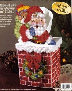 HERE COMES SANTA TISSUE BOX COVER 1/6