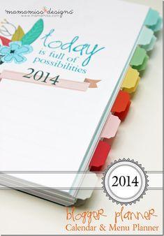 2014 Blogging Planner, Calendar, & Menu Planner | @mamamissblog #organize #2014planner