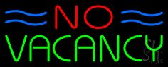 No Vacancy Neon Sign 13 Tall x 32 Wide x 3 Deep, is 100% Handcrafted with Real Glass Tube Neon Sign. !!! Made in USA !!!  Colors on the sign are Blue, Red and Green. No Vacancy Neon Sign is high impact, eye catching, real glass tube neon sign. This characteristic glow can attract customers like nothing else, virtually burning your identity into the minds of potential and future customers. No Vacancy Neon Sign can be left on 24 hours a day, seven days a week, 365 days a year...for decades…