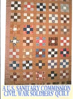 a scrappy quilt but the centre square in each block is a unifying colour. The Sanitary Commission distributed quilts, bandages, and more to camps and hospitals. Old Quilts, Antique Quilts, Scrappy Quilts, Mini Quilts, Vintage Quilts, Primitive Quilts, Nine Patch Quilt, Civil War Quilts, Quilting Projects