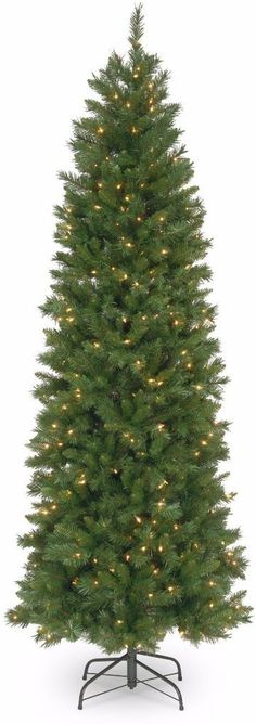 Fir Pencil Green Christmas Tree with 350 Clear Lights 32 x 90 Inch Home Decor #ChristmasTree #Artificial #FirPencil #ClearLights #Decorative #Decor #Christmas #ChristmasDecor #Holiday #Seasonal #HomeDecor #HolidayDecor