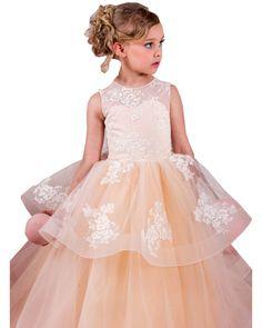 Flower girl dress,champagne flower girl dress,princess flower girl