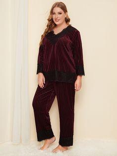 Plus Lace Trim Velvet Pajama Set , Jordan Dress, Corduroy, Pajama Set, Lace Trim, Lounge Wear, Vintage Outfits, Burgundy, Jumpsuit, Velvet