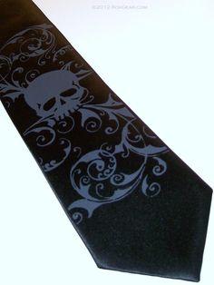 Black Narrow Skull necktie  Men's 3 inch wide narrow by RokGear
