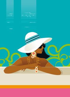 Campaign illustration for Zesto Banque, France, by Bo Lundberg Cool Sketches, Mid Century Art, Retro Art, Beach Art, Travel Posters, Strand, Vintage Posters, Fashion Art, Pop Art