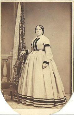 CDV Photo Lovely Victorian Woman Beautiful Fashion Hoop Dress Nice Stripes ACWE   eBay