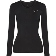 Nike Pro Cool mesh-paneled Dri-FIT stretch-jersey top ($35) ❤ liked on Polyvore featuring activewear, activewear tops, nike activewear, stretch jersey, nike and nike sportswear