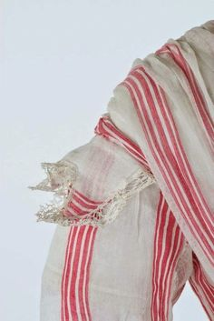 Pink and white striped muslin summer gown, circa 1864. | In the Swan's Shadow