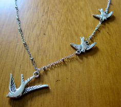 Divergent Inspired Necklace. Tris Three Flying Birds Tattoo. by WithLoveFromOC, $20.00