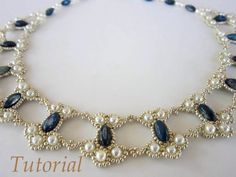 PDF tutorial lace beaded necklace seed bead pearl oval bead by BeadsMadness on Etsy https://www.etsy.com/listing/181945486/pdf-tutorial-lace-beaded-necklace-seed