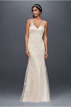 Jewel Lace Wedding Dress with Scalloped V-Neck - Davids Bridal